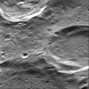 Heavily cratered region on the Moon