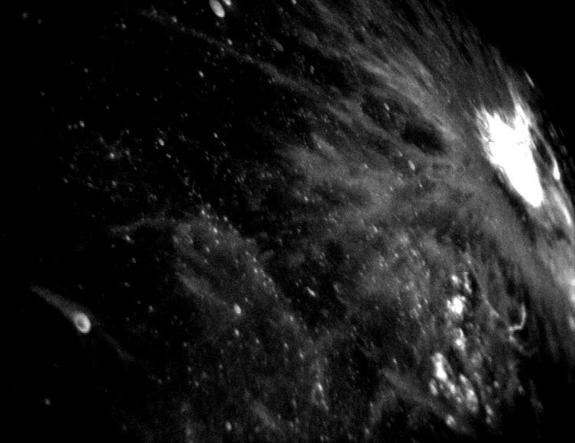Impact crater shown in star tracker animation