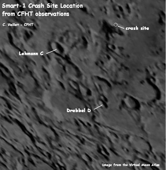 Location of SMART-1 impact by CFHT