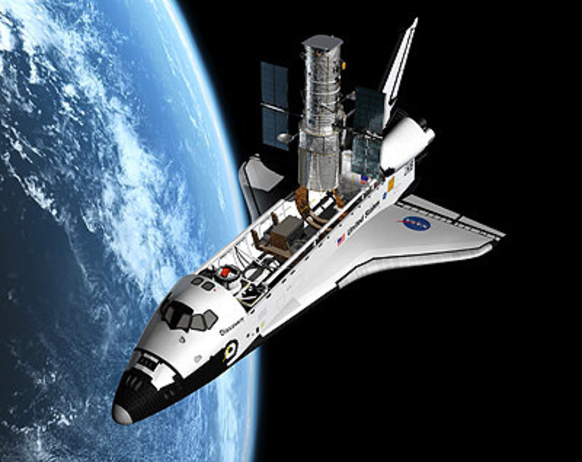 Shuttle Servicing Mission zum Hubble-Teleskop - graphische Darstellung