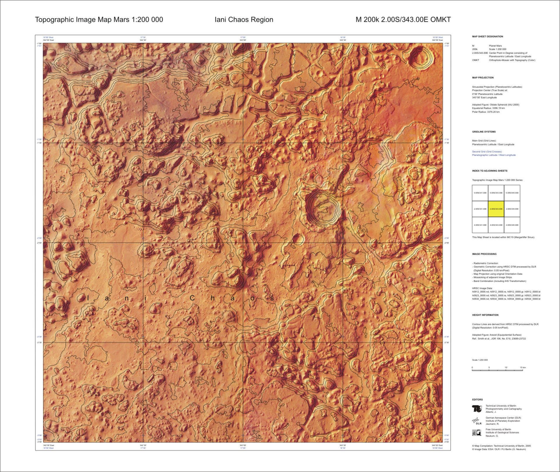 Another topographic map of Mars at 1:200 000