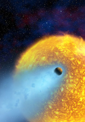 Artist's impression of 'evaporating' exoplanet