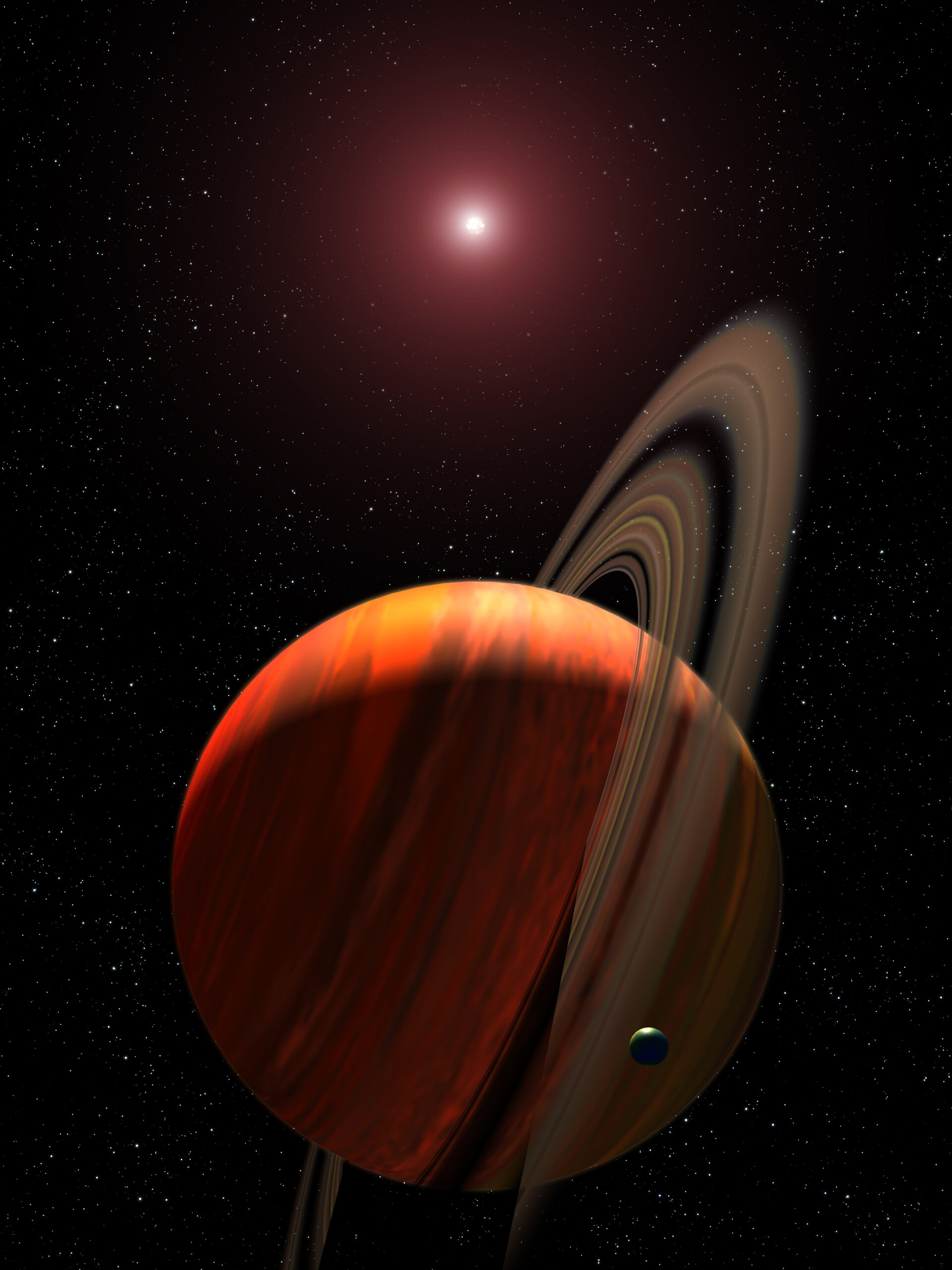 Artist's view of exoplanet around a red dwarf