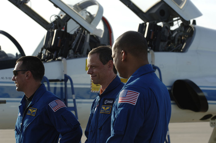 Astronauts arrive for countdown training at NASA's Kennedy Space Center, in Cape Canaveral, Florida
