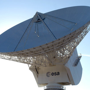 Close-up view of the Cebreros Antenna 35m dish