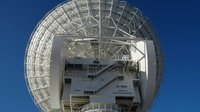 Rear view of the dish antenna on ESA's 35 m-diameter tracking station at Cebreros, Spain.