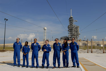 ESA astronaut Christer Fuglesang and the crew of the STS-116 Space Shuttle mission near the launch pad area