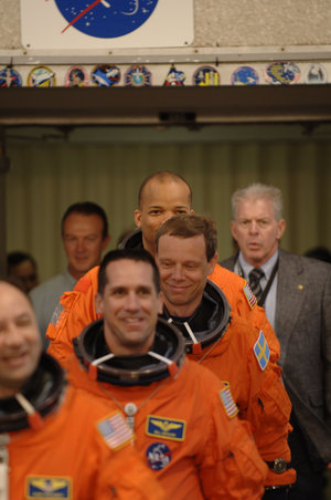 ESA astronaut Christer Fuglesang and the rest of the STS-116 crew, walkout for the practice countdown at KSC