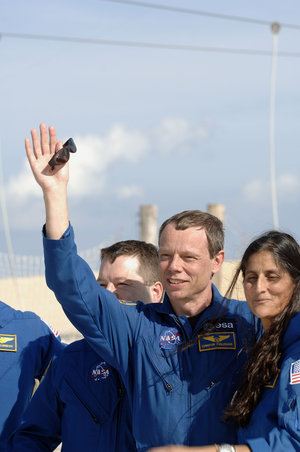 ESA astronaut Christer Fuglesang and the rest of the STS-116 Space Shuttle mission crew near the launch pad area