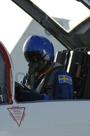 ESA astronaut Christer Fuglesang arrives at KSC on board a T-38 jet