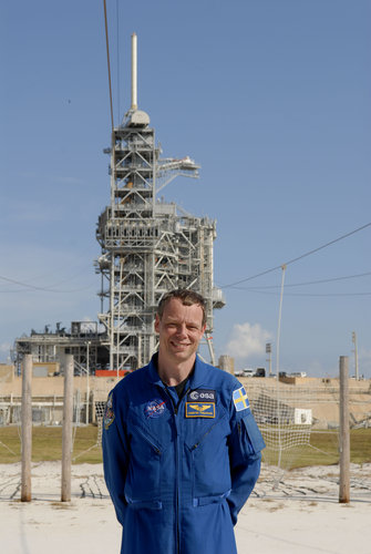 ESA astronaut Christer Fuglesang is near the launch pad area at NASA's Kennedy Space Center