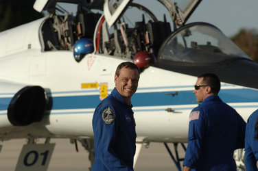 From left: ESA astronaut Christer Fuglesang and NASA astronaut William A. Oefelein