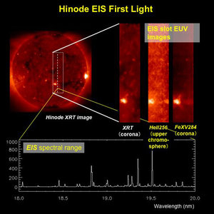 Hinode (Solar-B) EUV Imaging Spectrometer's first-light