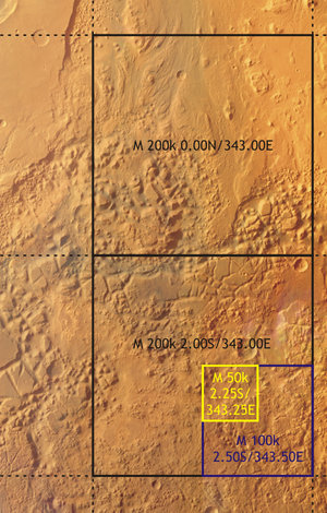 Possible scales of topographic maps of Mars