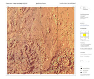 Topographic map of Mars at 1:200 000