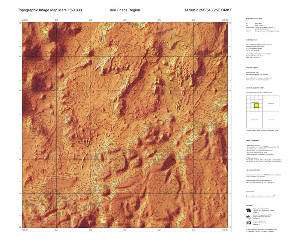 Topographic map of Mars at 1:50 000