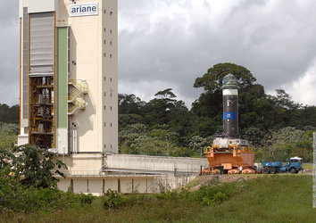 Vega first stage engine arriving at the test stand