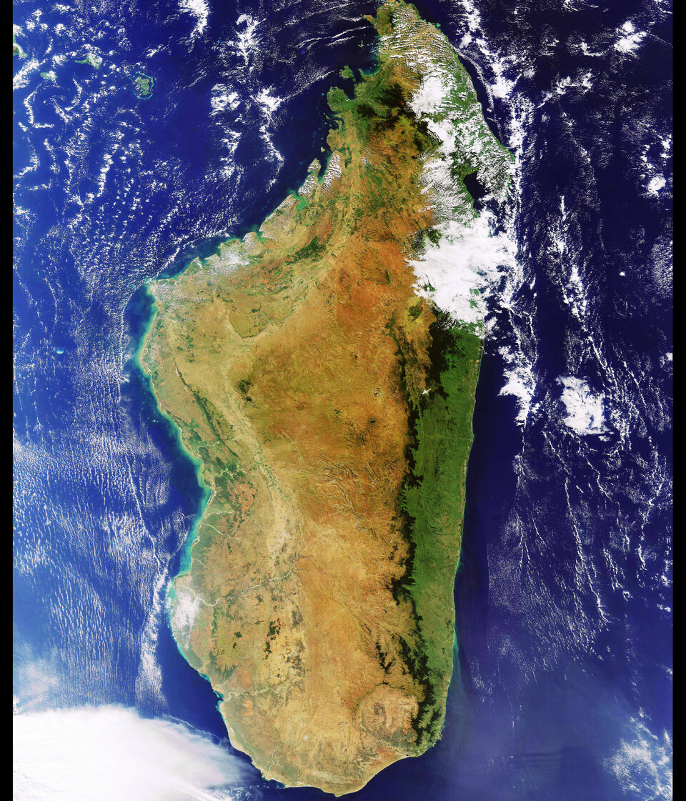 A virtually cloudless image of Madagascar