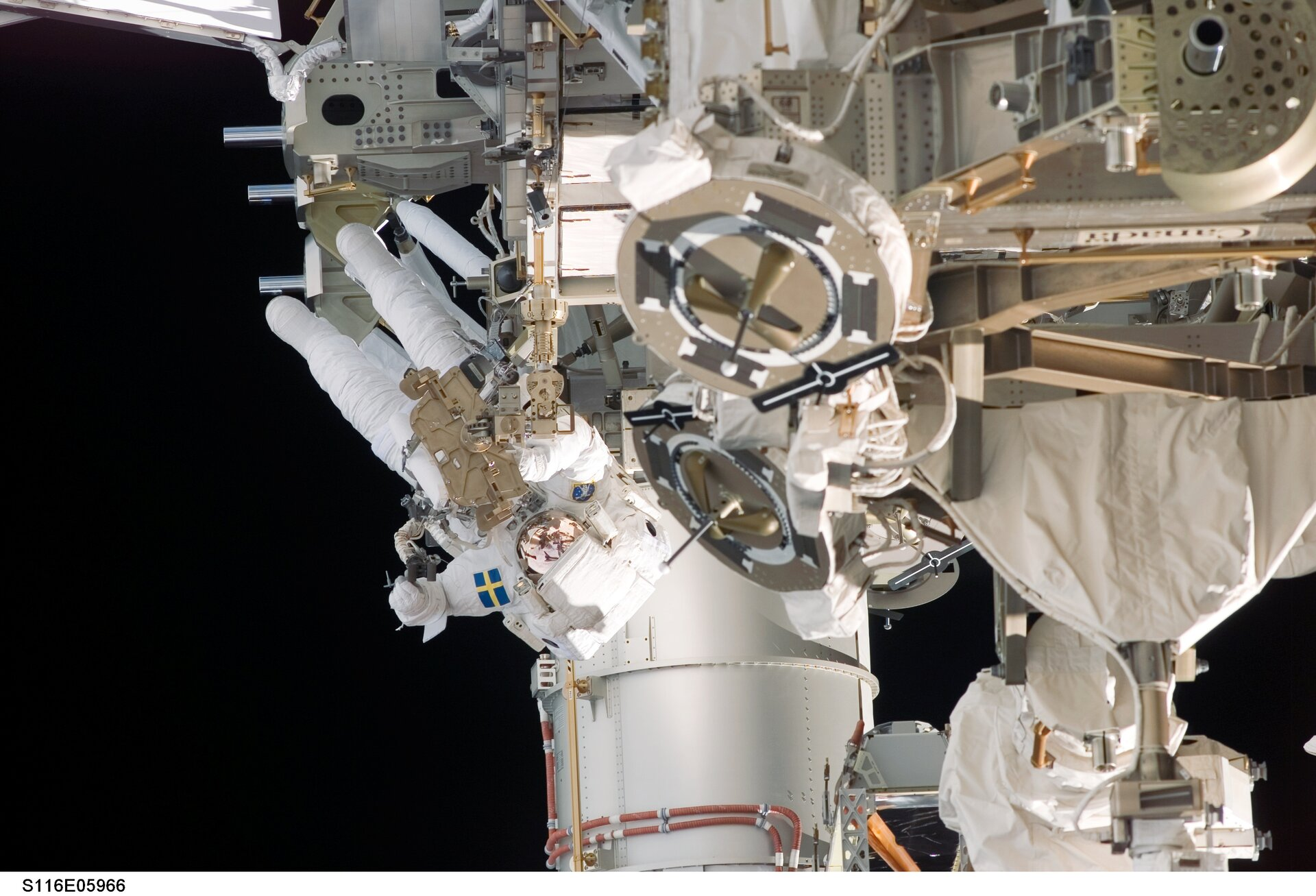 Christer Fuglesang during his first spacewalk