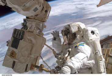 Christer Fuglesang during his second spacewalk