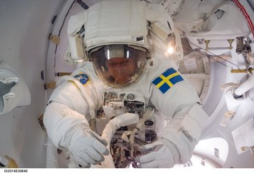 Christer Fuglesang in EVA suit ahead of his first spacewalk