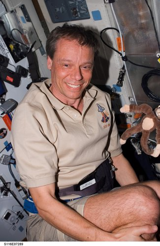 Christer Fuglesang on board Space Shuttle Discovery
