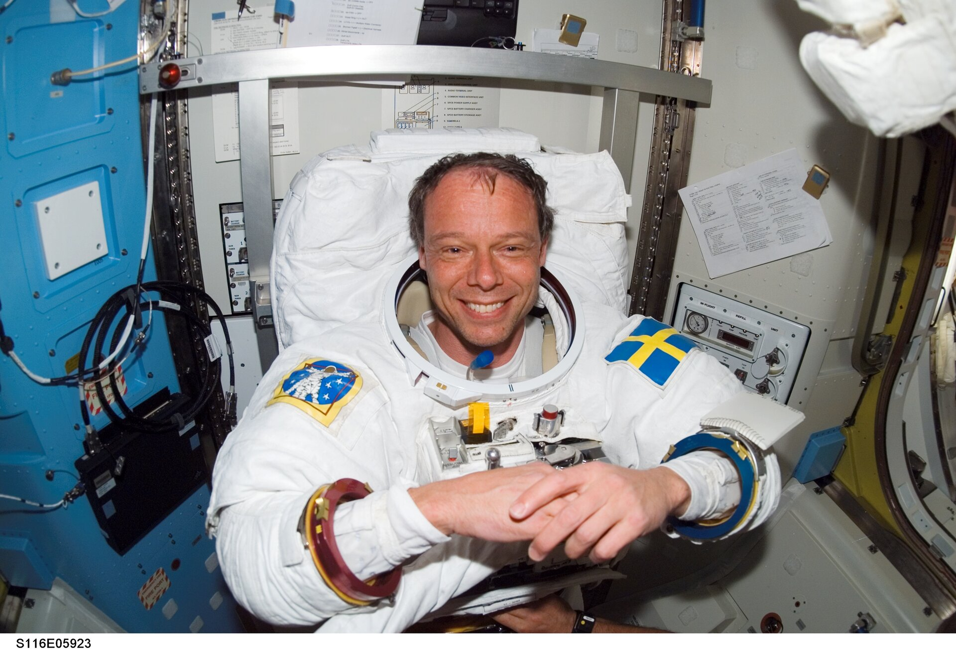 Christer Fuglesang prepares for his first spacewalk