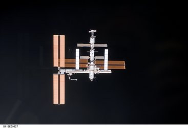 ISS as seen from Discovery shortly before docking