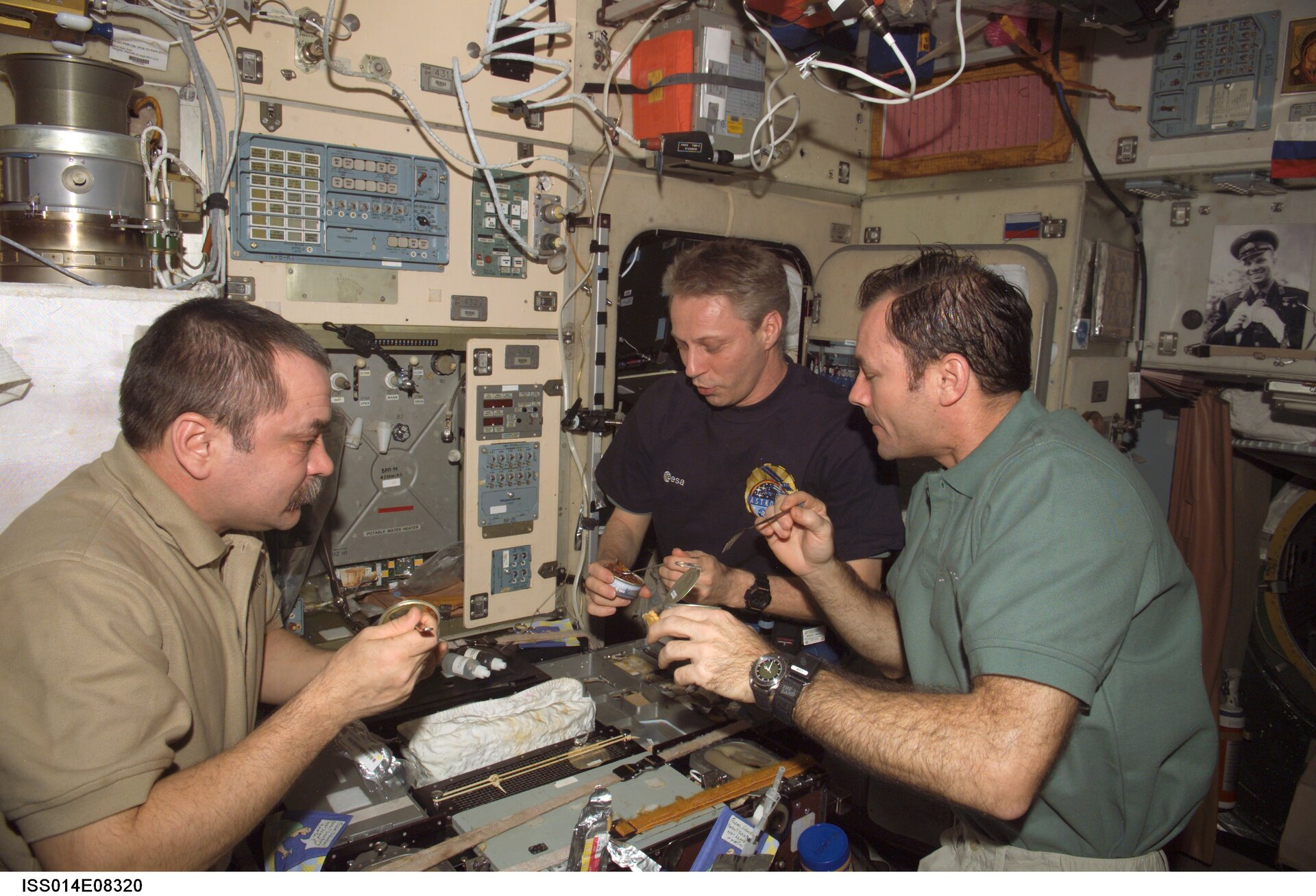 Meal at the galley in the Zvezda Service Module