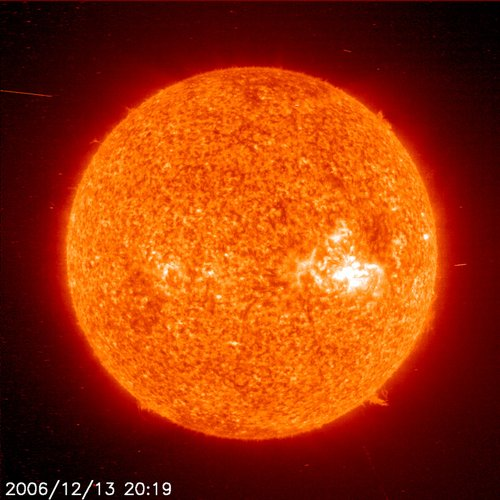 SOHO image of storm on Sun, 13 December 2006