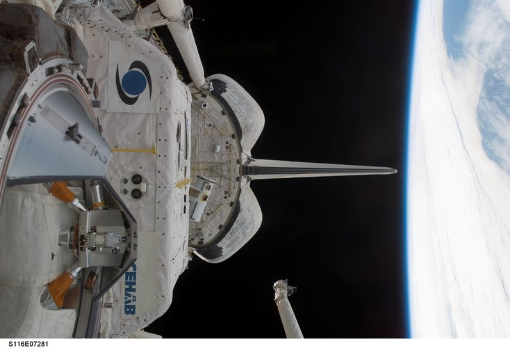 Space Shuttle Discovery is homeward bound after an eight day visit to the ISS
