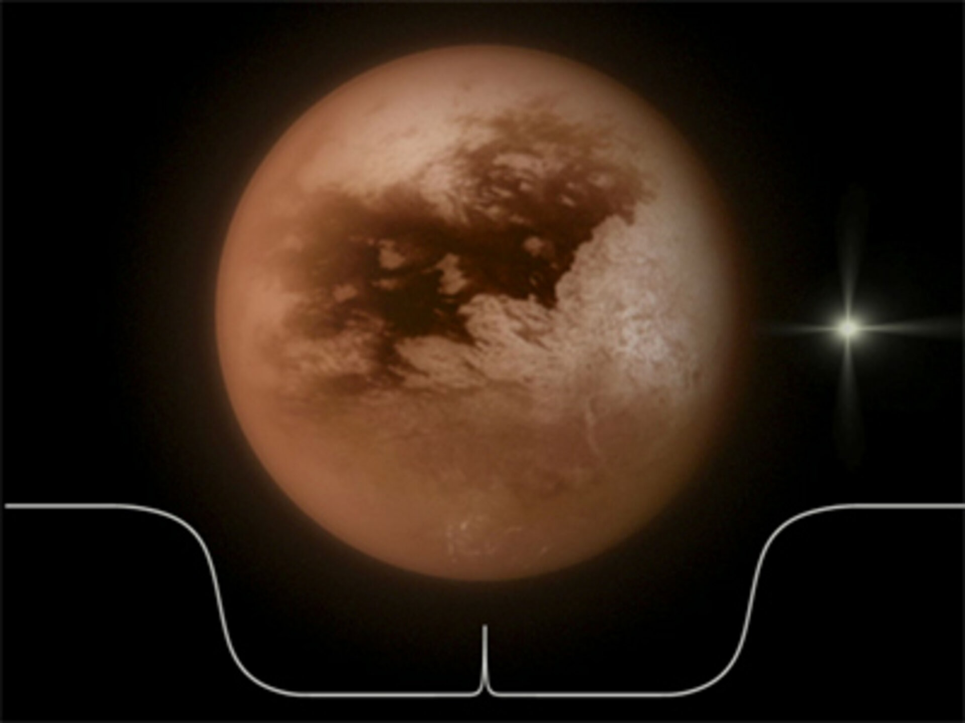 Artist's impression of a star occultation by Titan