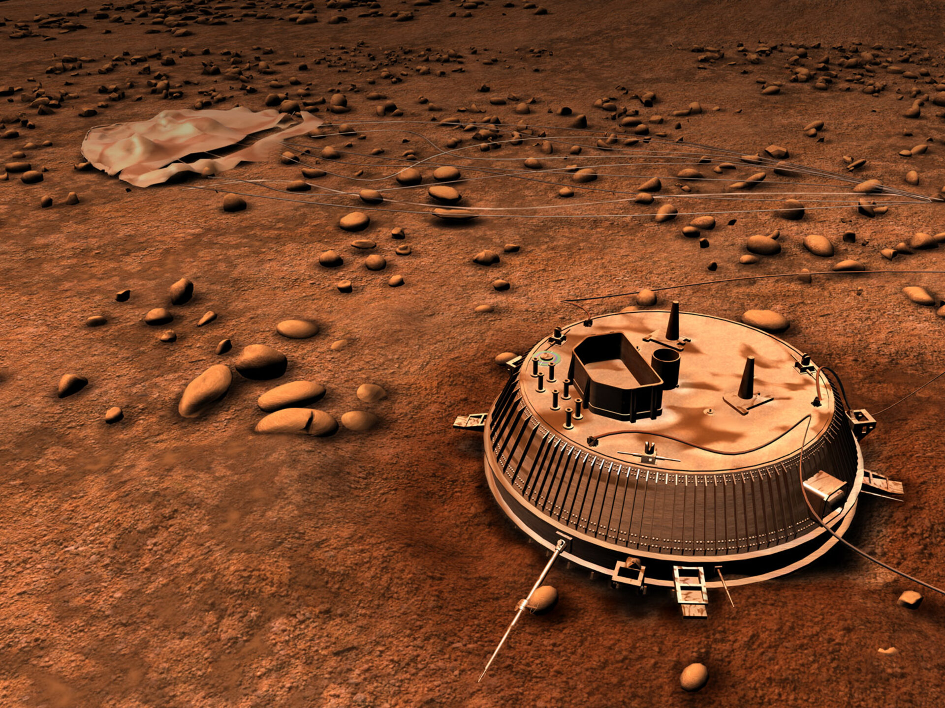 Artists's impression of Huygens on Titan