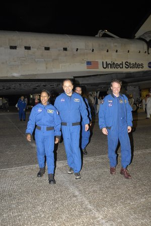 Members of the STS-116 crew at NASA's Kennedy Space Center Shuttle Landing Facility