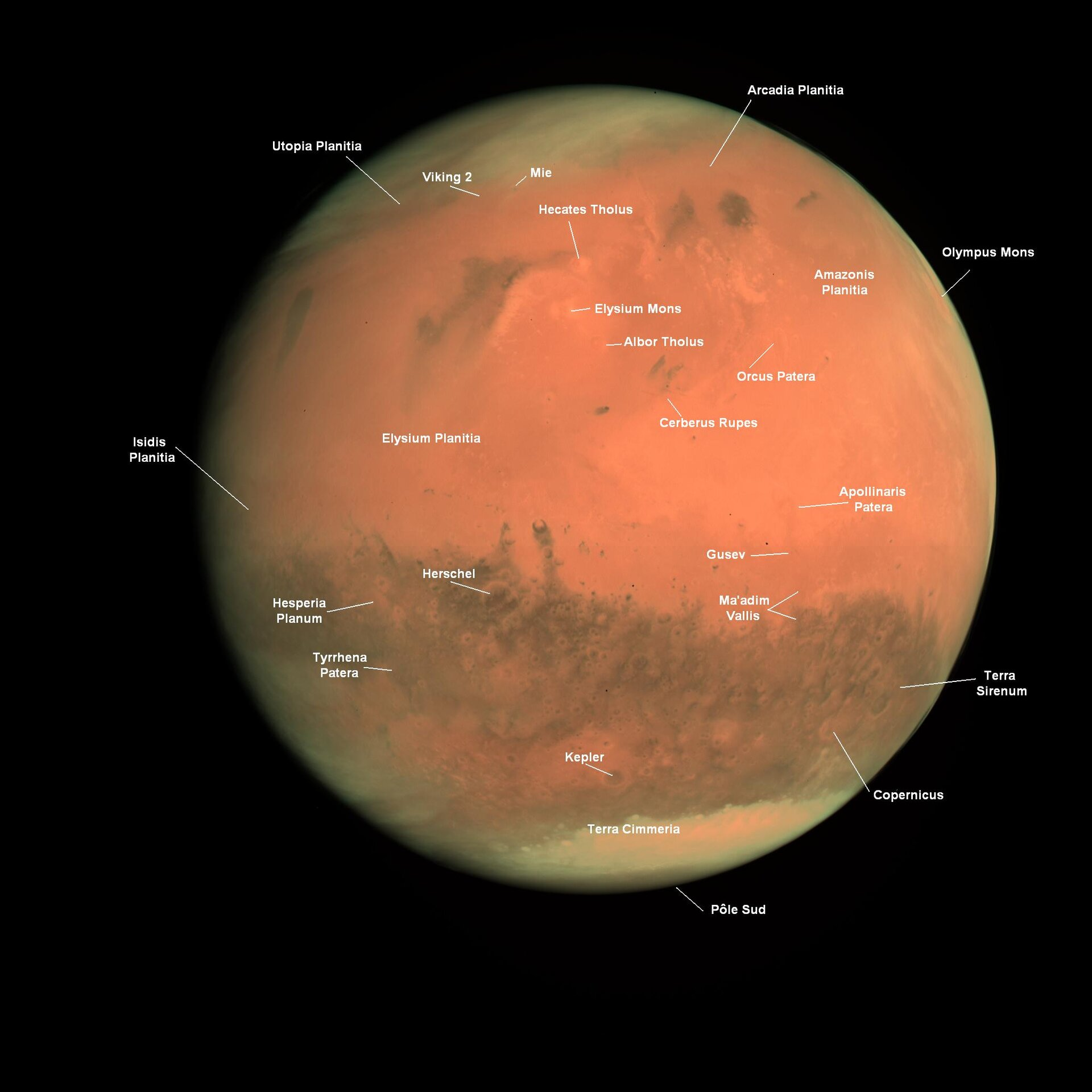 Annotated image of Mars seen by OSIRIS