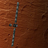 Rosetta represented during closest approach to Mars