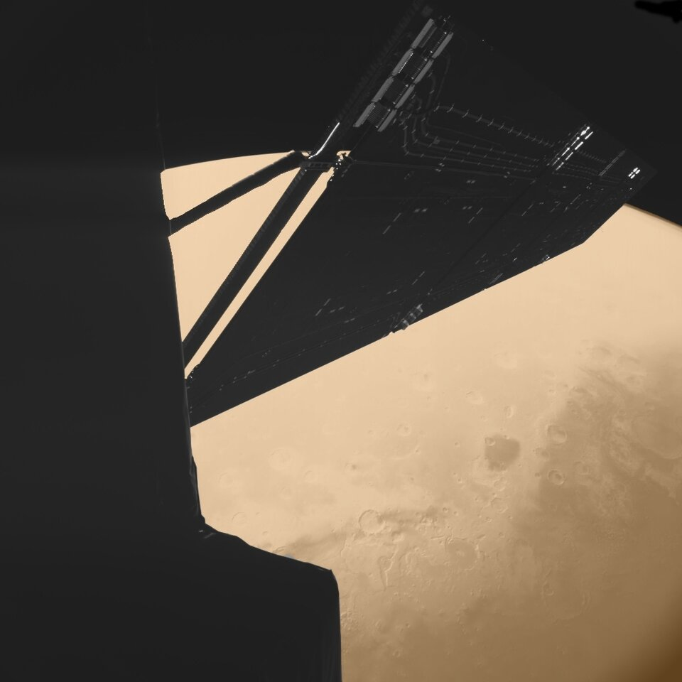 Rosetta above Mars - seen by the Philae lander during Mars fly-by, February 2007