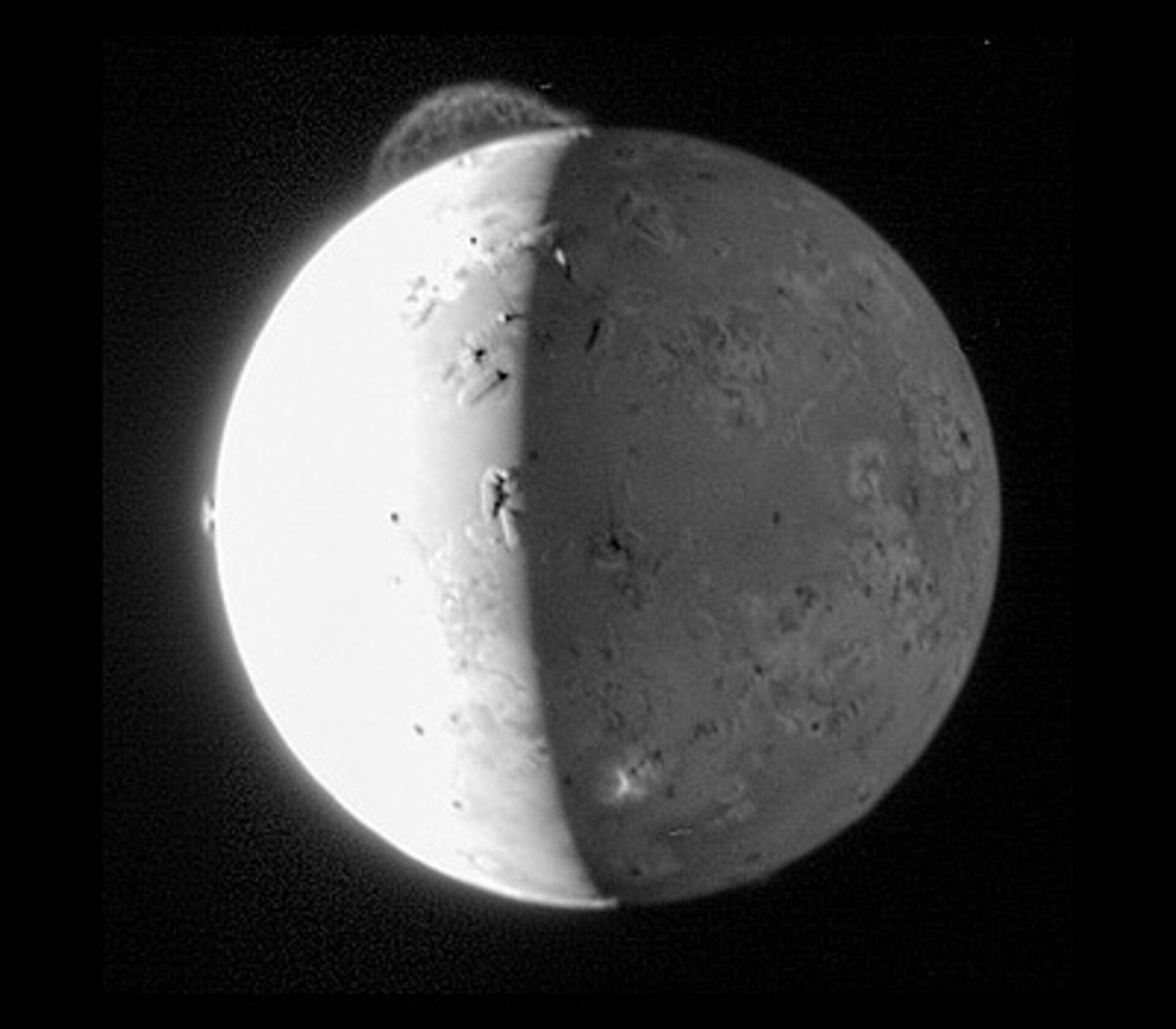 A plume on Io erupting from the volcano Tvashtar