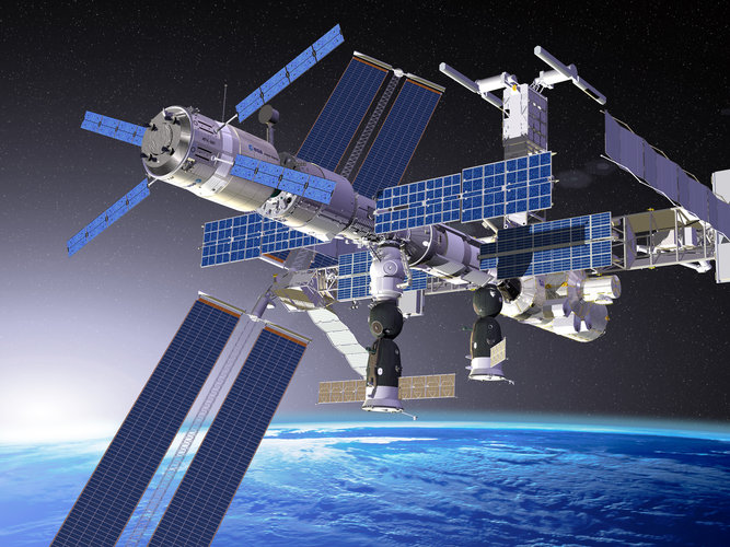 Artist's impression of ATV docked with Russian Zvezda module