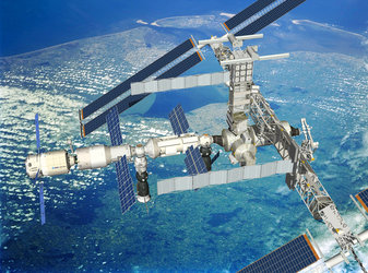 Artist's impression showing ATV docked with ISS