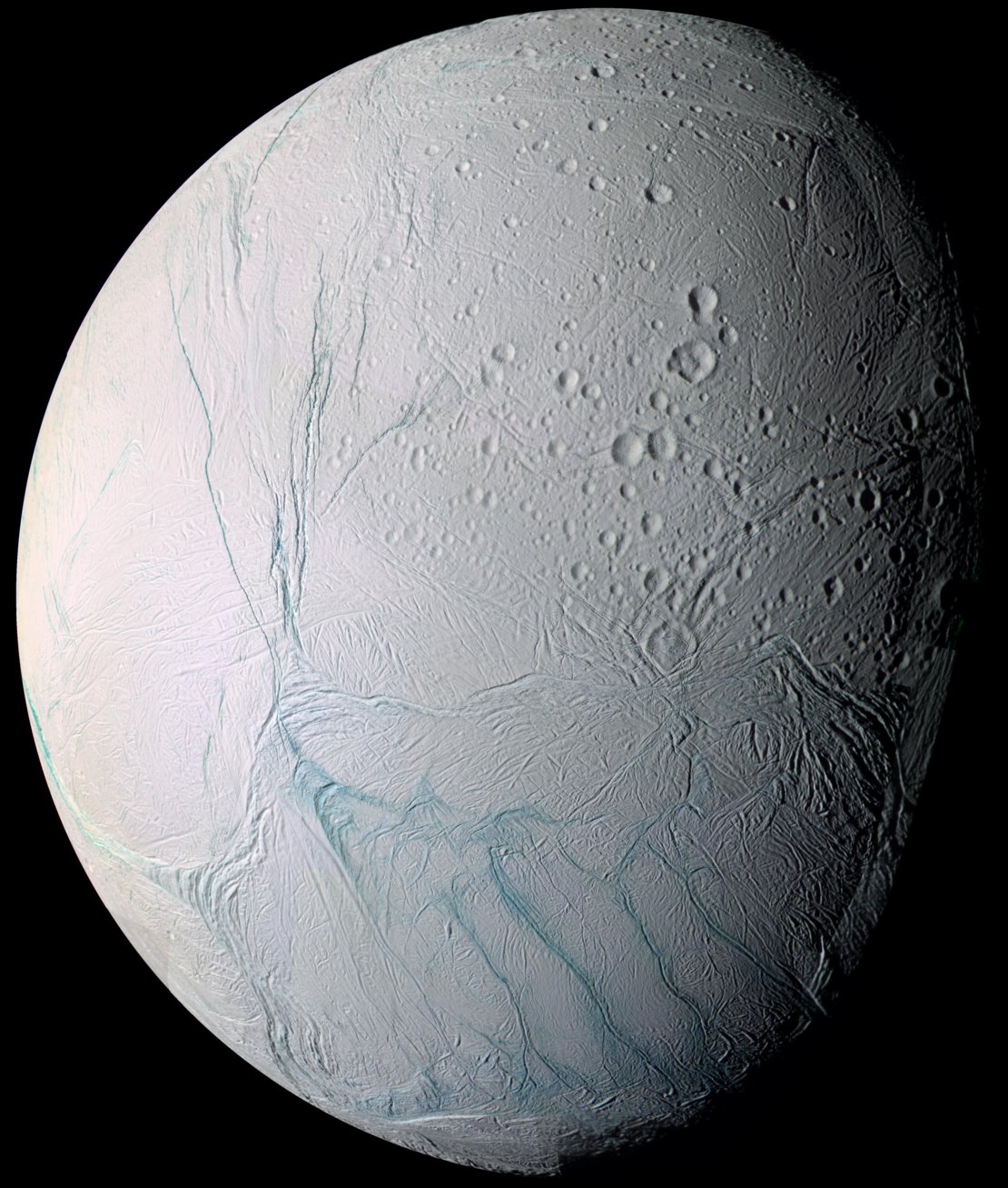 Enceladus' craters and complex, fractured terrains