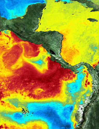 Heat map around Galapagos and Cocos Island