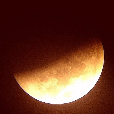 Partial phase of lunar eclipse seen from Brasil