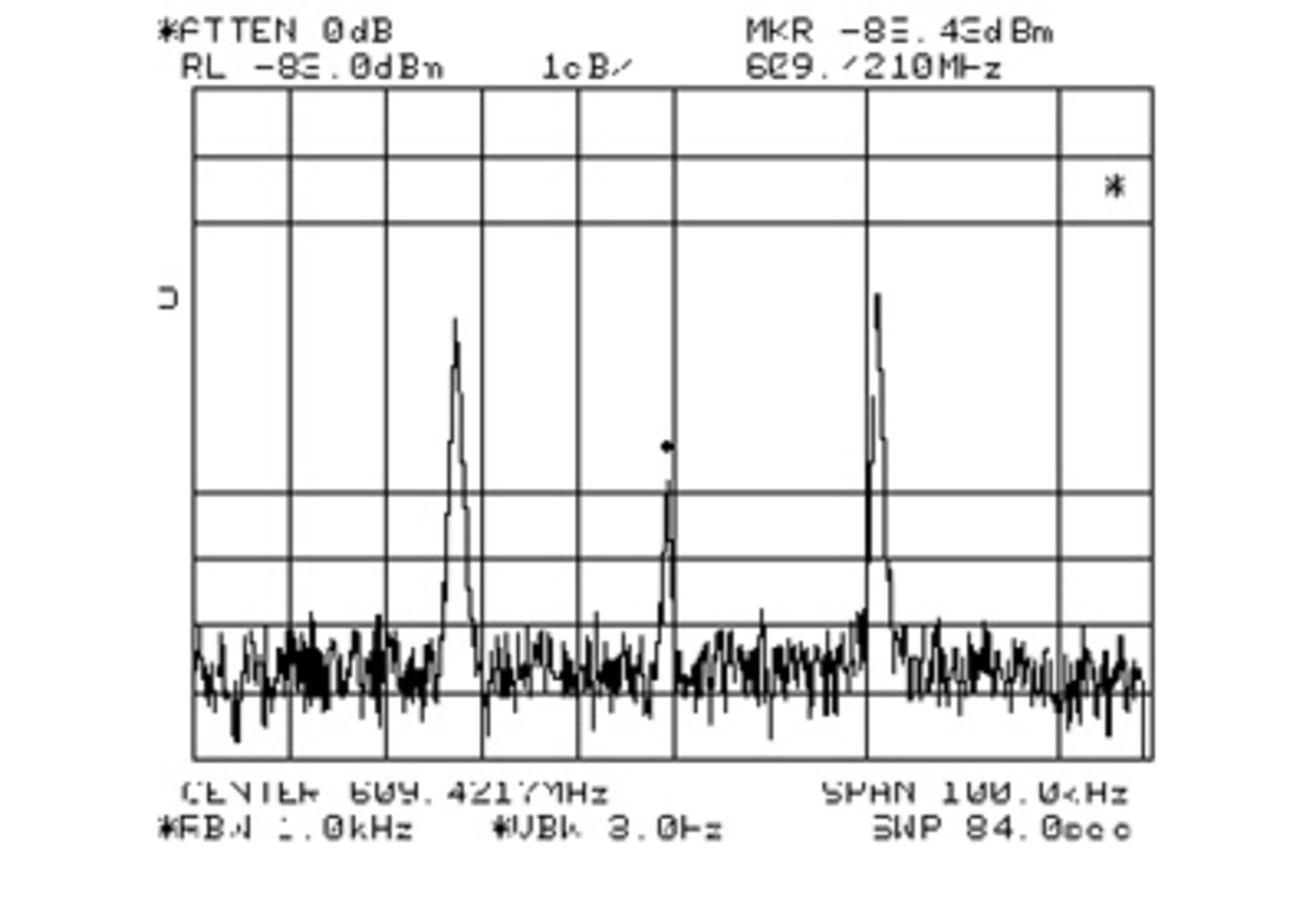 Spectrum analyser display indicating first signals received from Stardust at DSA 1