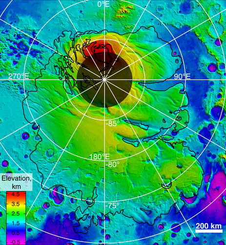 Upper surface of icy layers covering Mars' south-polar region