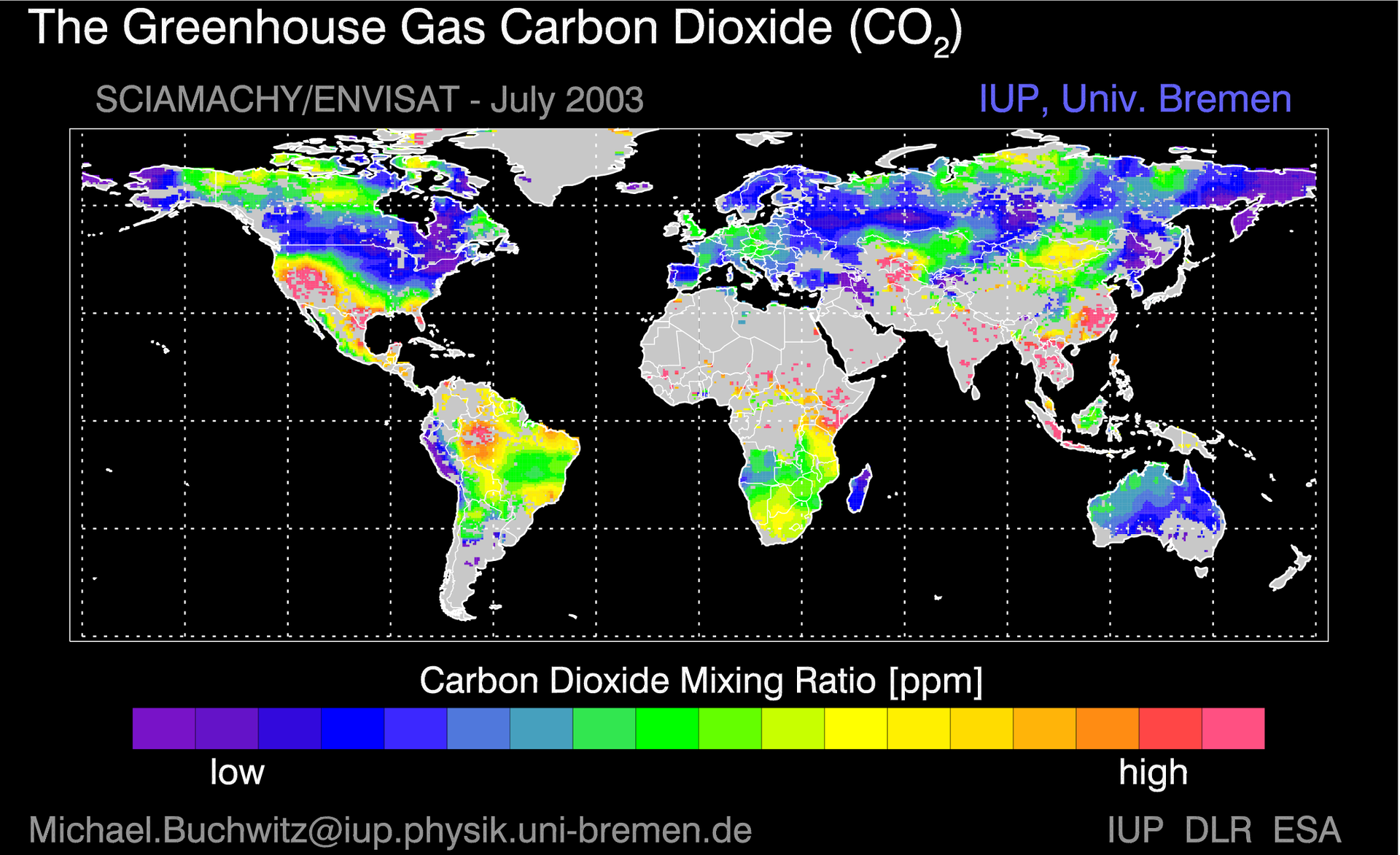 Carbon dioxide and oxygen mixing ratio