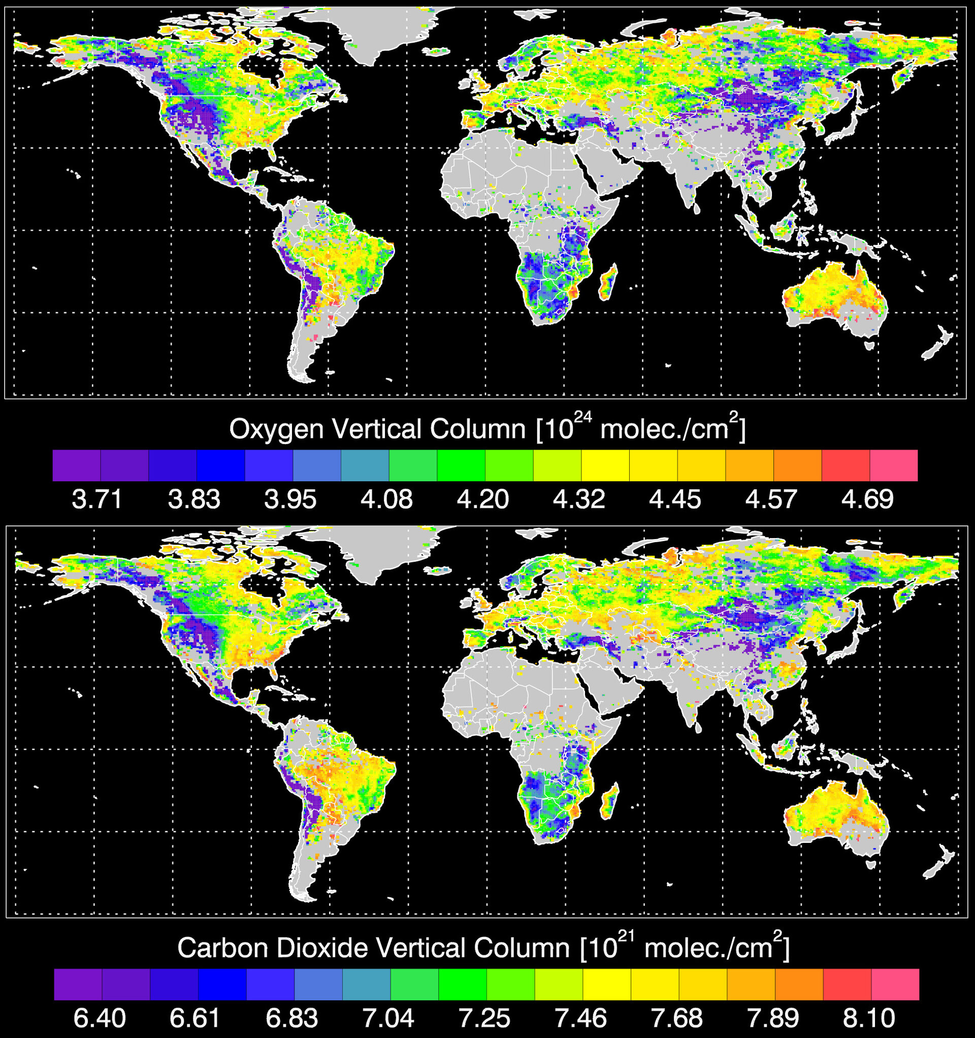 Comparison between oxygen (top) and carbon dioxide figures