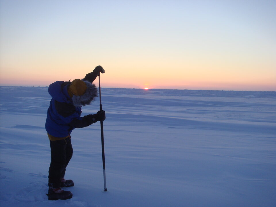 Making snow-depth measurements during the Arctic Arc expedition