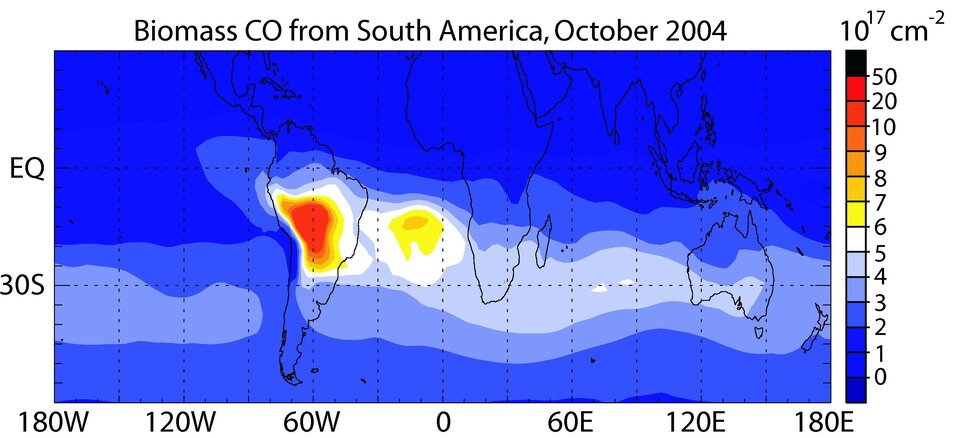 Envisat view of CO emissions from South America
