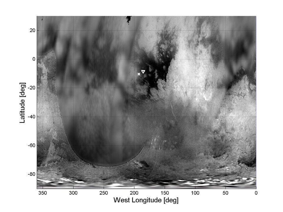 Huygens atmospheric entry point and landing spot on Titan